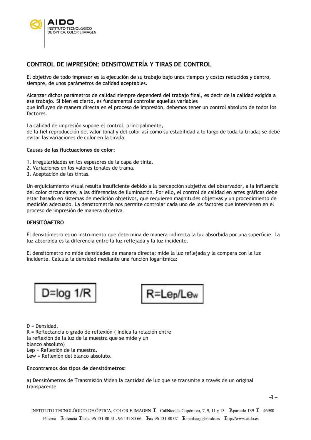 CONTROL DE IMPRESIÓN DENSITOMETRÍA Y TIRAS DE CONTROL by GRAFICSANTS ...