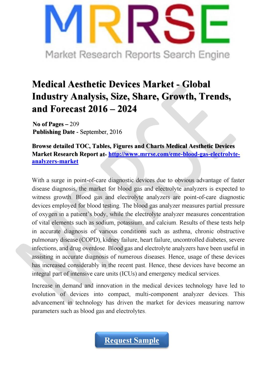 blood gas and electrolyte analyzers market Blood gas and electrolytes analyzers market size, market share, trends & growth analysis, industry forecast to 2025.