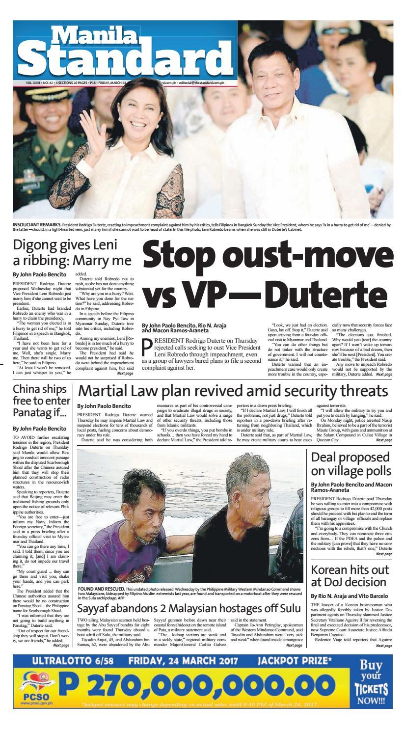 c7f2f3040dc6 Manila Standard - 2017 March 24 - Friday by Manila Standard - issuu