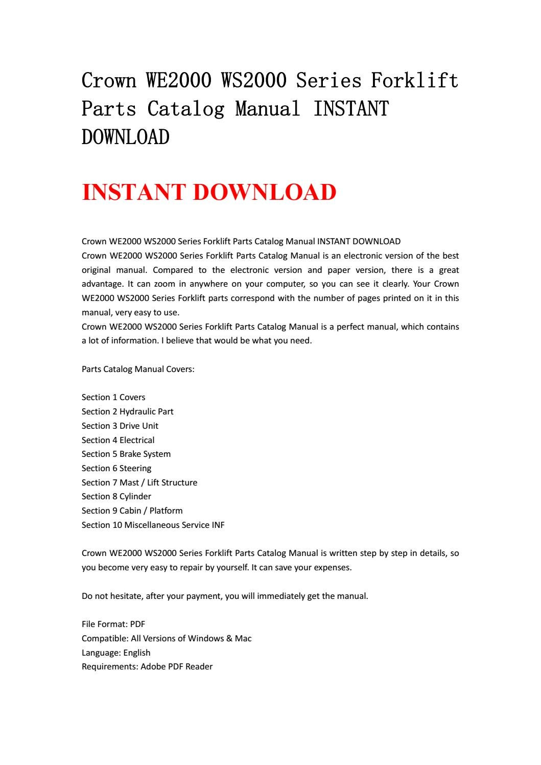 Crown we2000 ws2000 series forklift parts catalog manual instant download  by ksjefksme - issuu