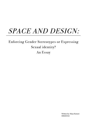 space and design an essay by maya suthar   issuu space and design enforcing gender stereotypes or expressing sexual  identity an essay