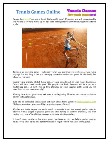 Tennis Games Online Do you love tennis  Are you a fan of this beautiful game   If you are ba99b3389874b
