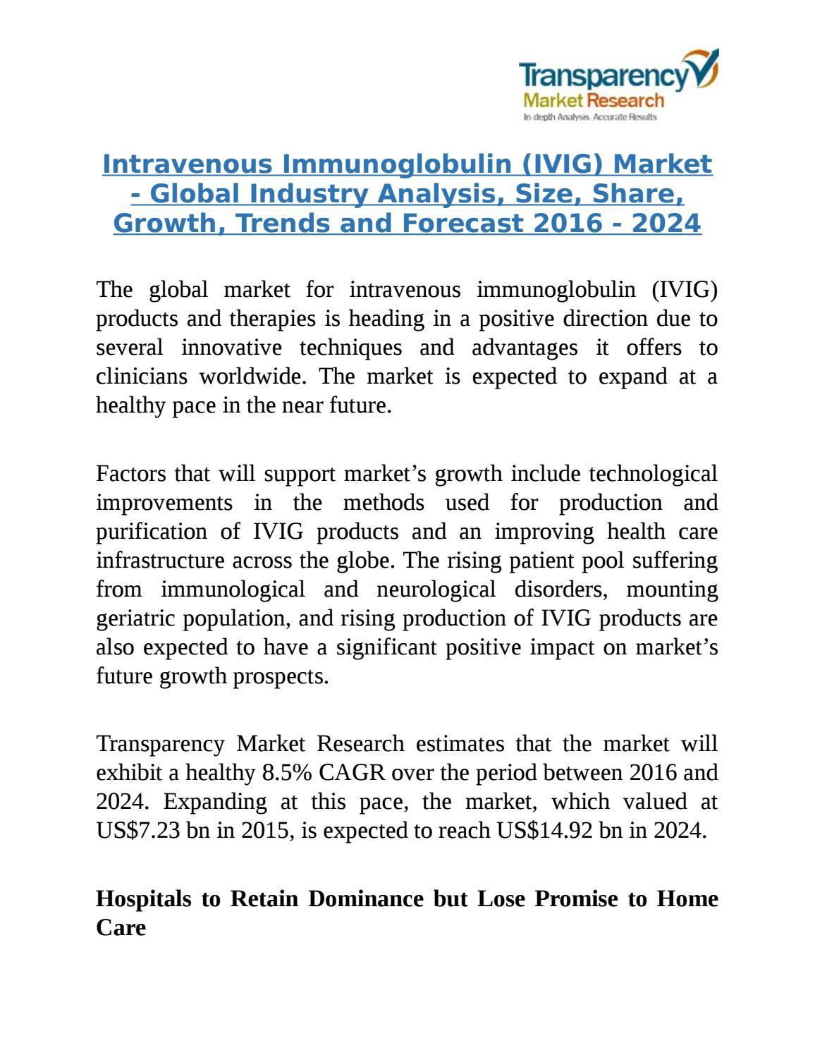 Intravenous Immunoglobulin (IVIG) Market by MarketTrends - issuu