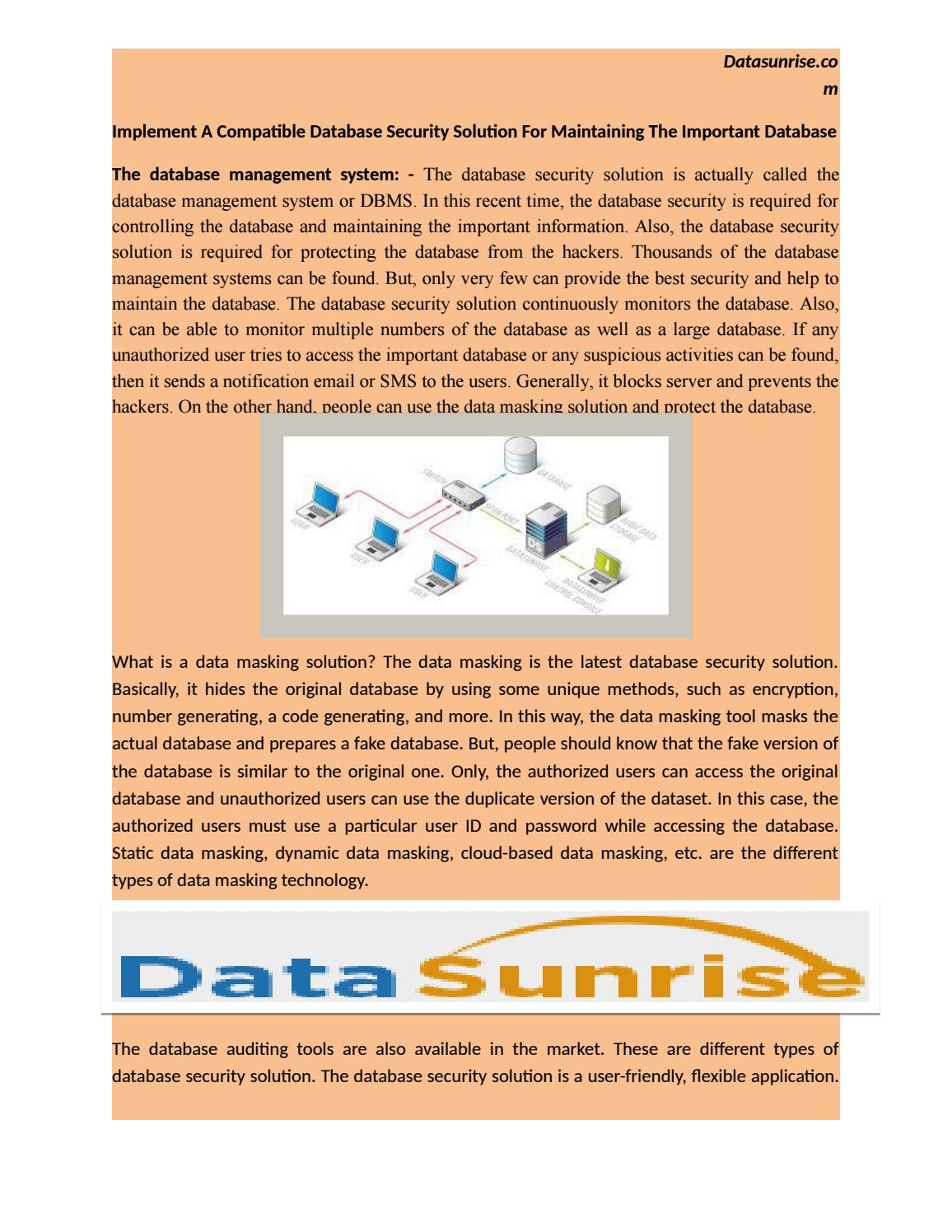 Implement A Compatible Database Security Solution For Maintaining And Authorization Dbms The Important By Datasunrise Issuu