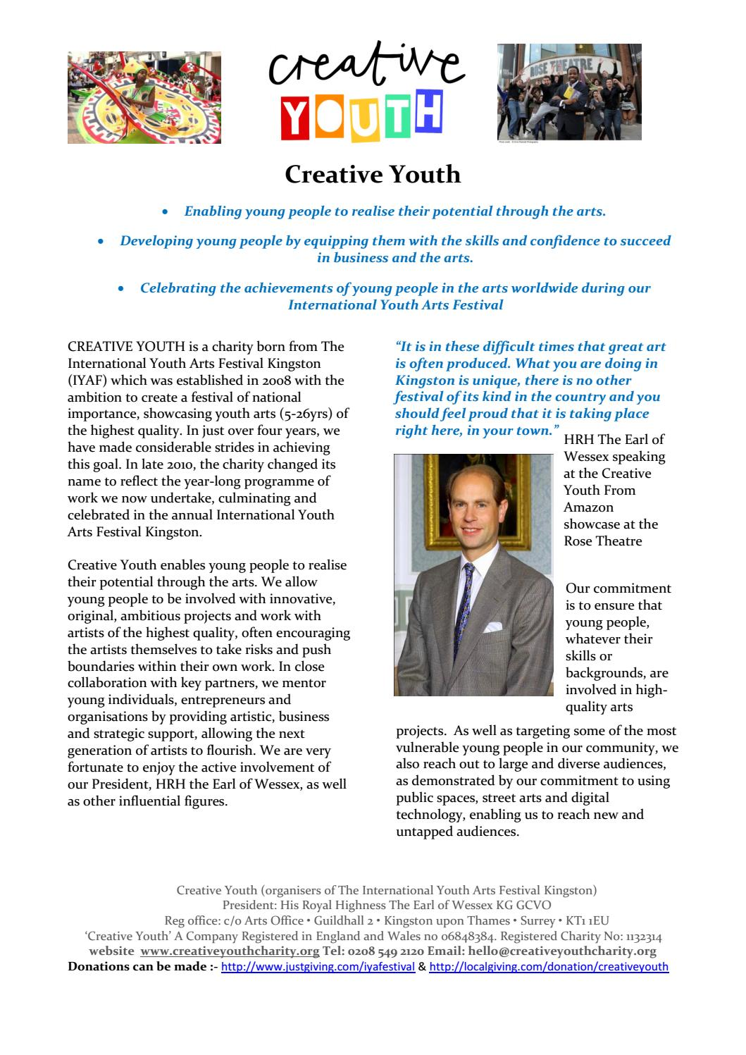 Creative Youth Promotional Brochure By Philip Hetherington Issuu