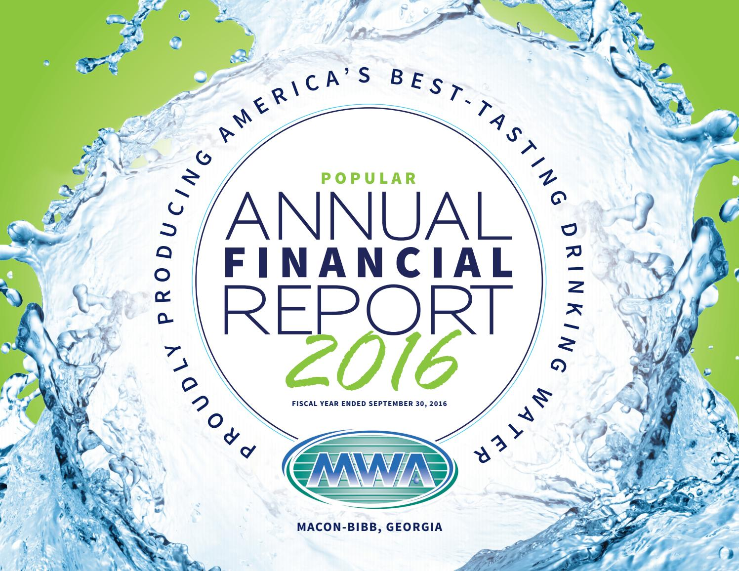 Macon Water Authority 2016 Popular Annual Financial Report By Mr