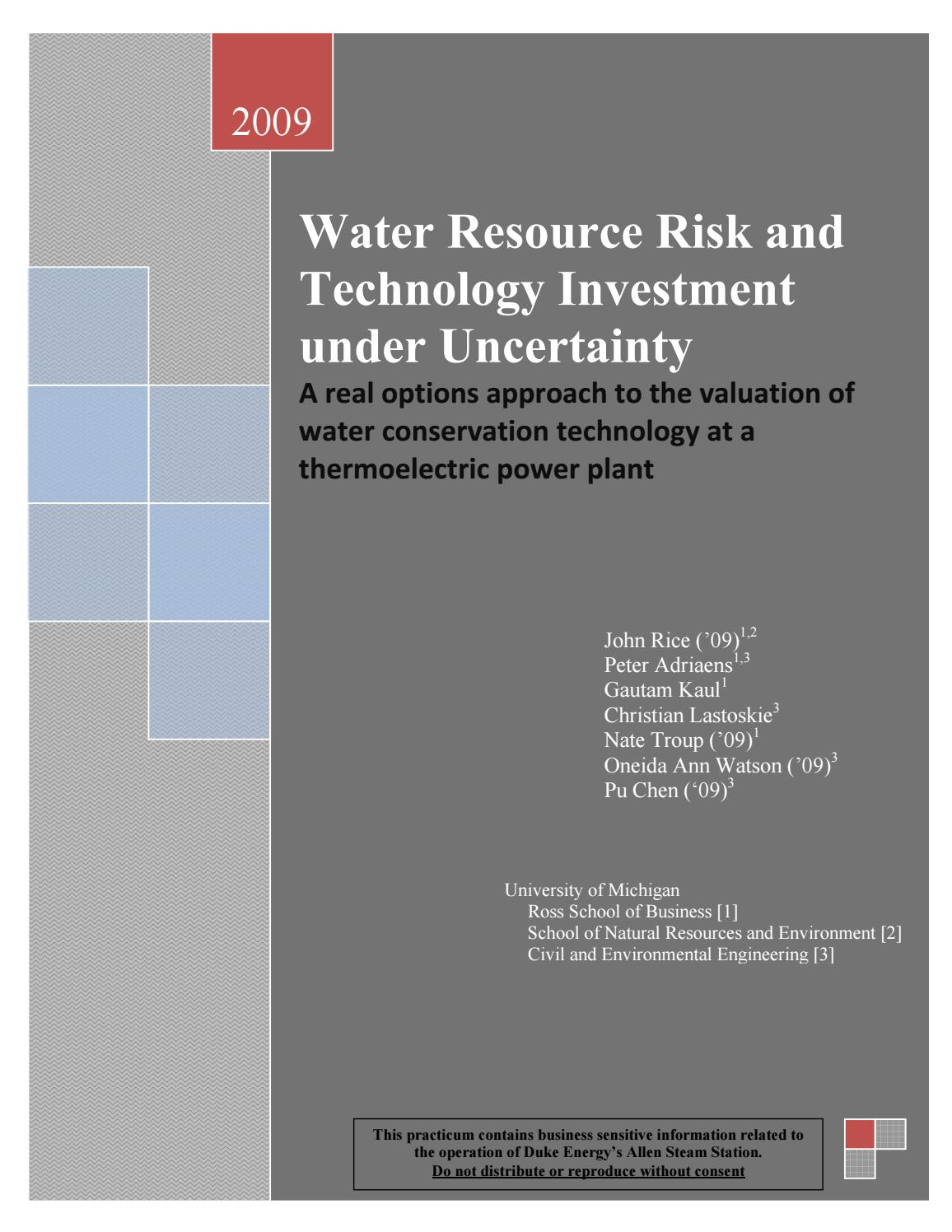 Water Resources and Technology Investment - Master's Project