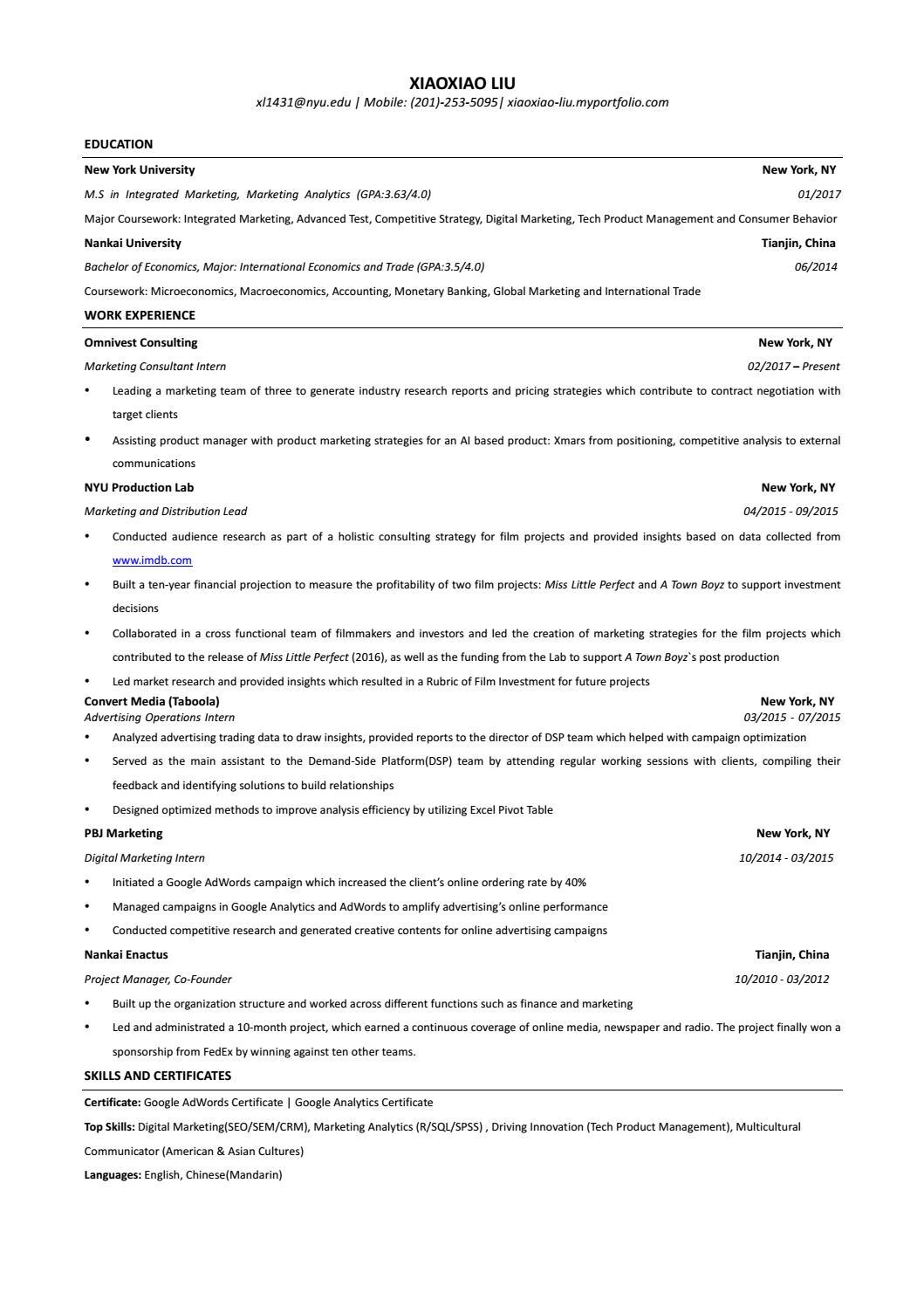 Xiaoxiaoliu Resume By New York Univeristy Issuu