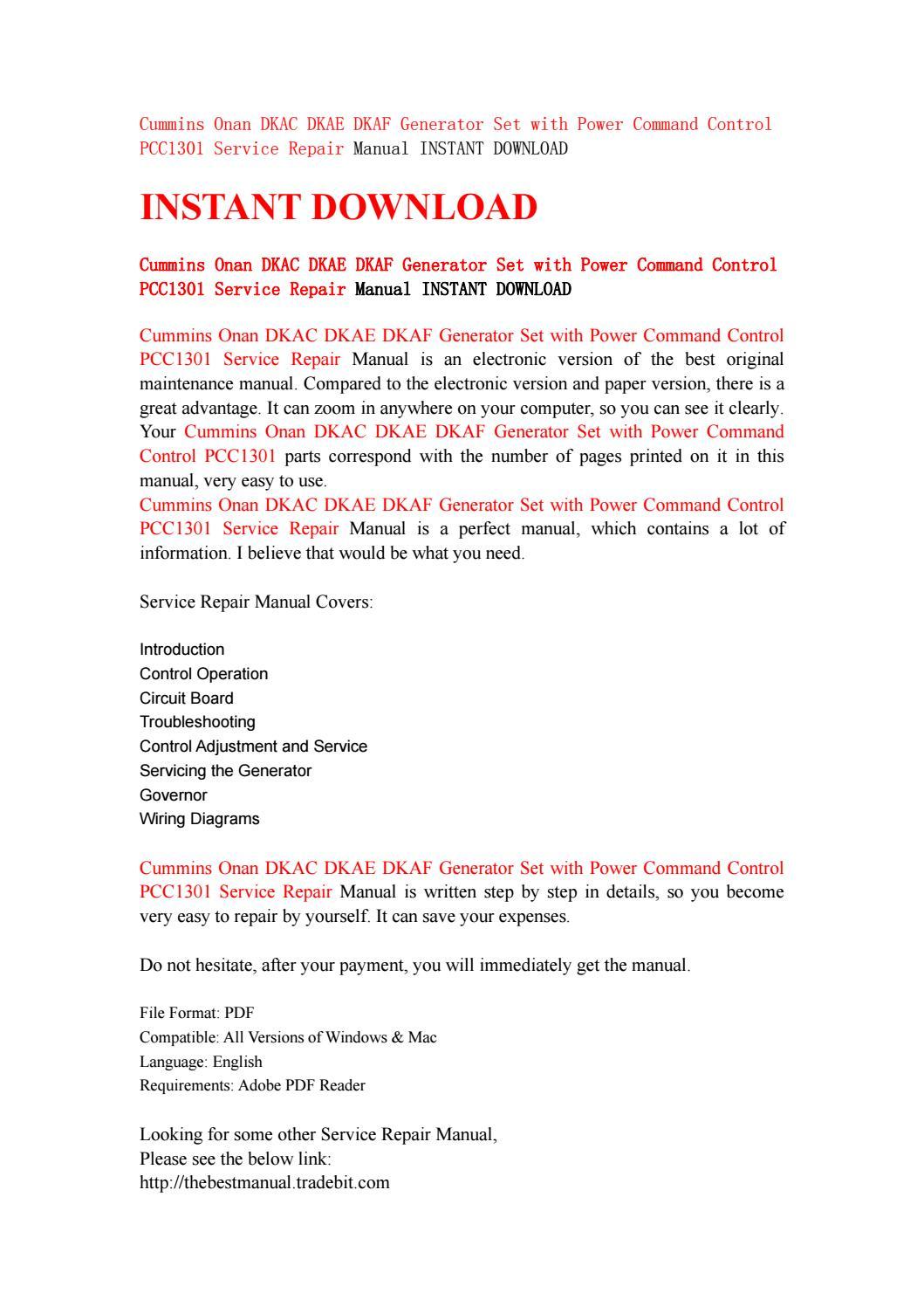 Cummins onan dkac dkae dkaf generator set with power command control  pcc1301 service repair manual i by kjsnfhsenf - issuu