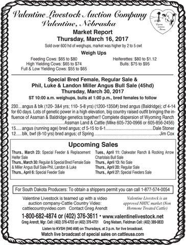 Außergewöhnlich Valentine Livestock Auction Co. Market Report   3.21.17 By Tri ...