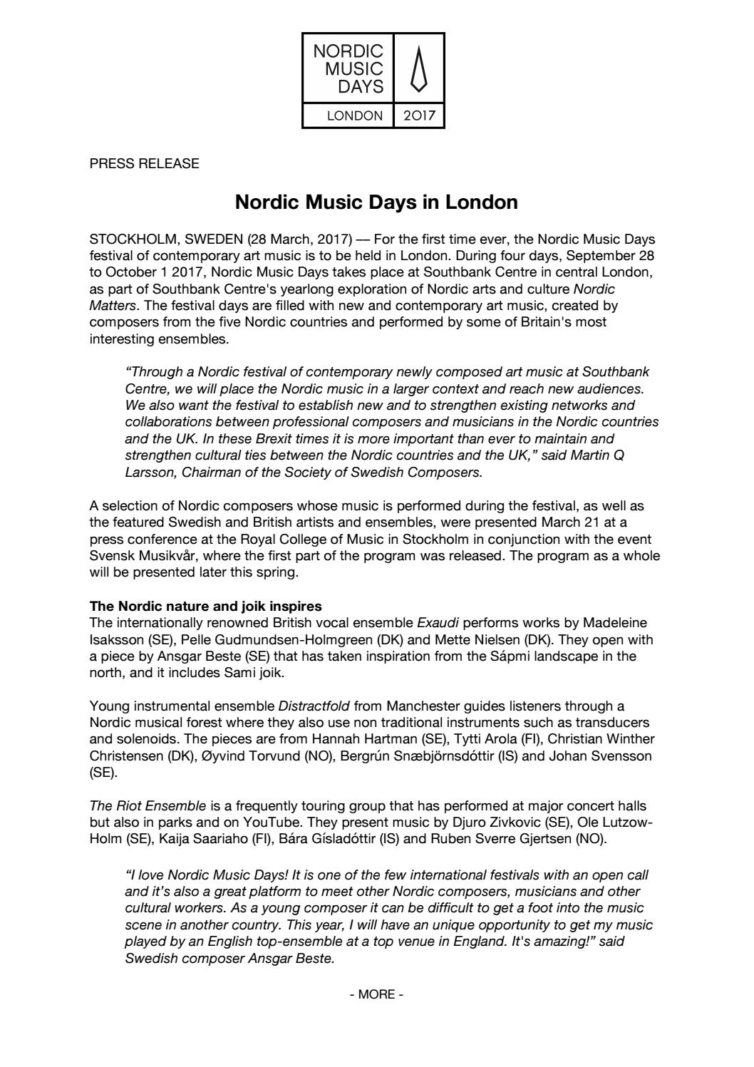 Press release nmd 28 march 2017 en by Nordic Music Days 2017 - issuu