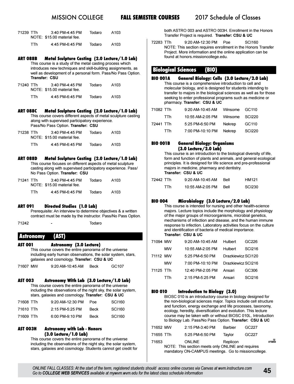 2017 mission college summer fall schedule by mission college issuu
