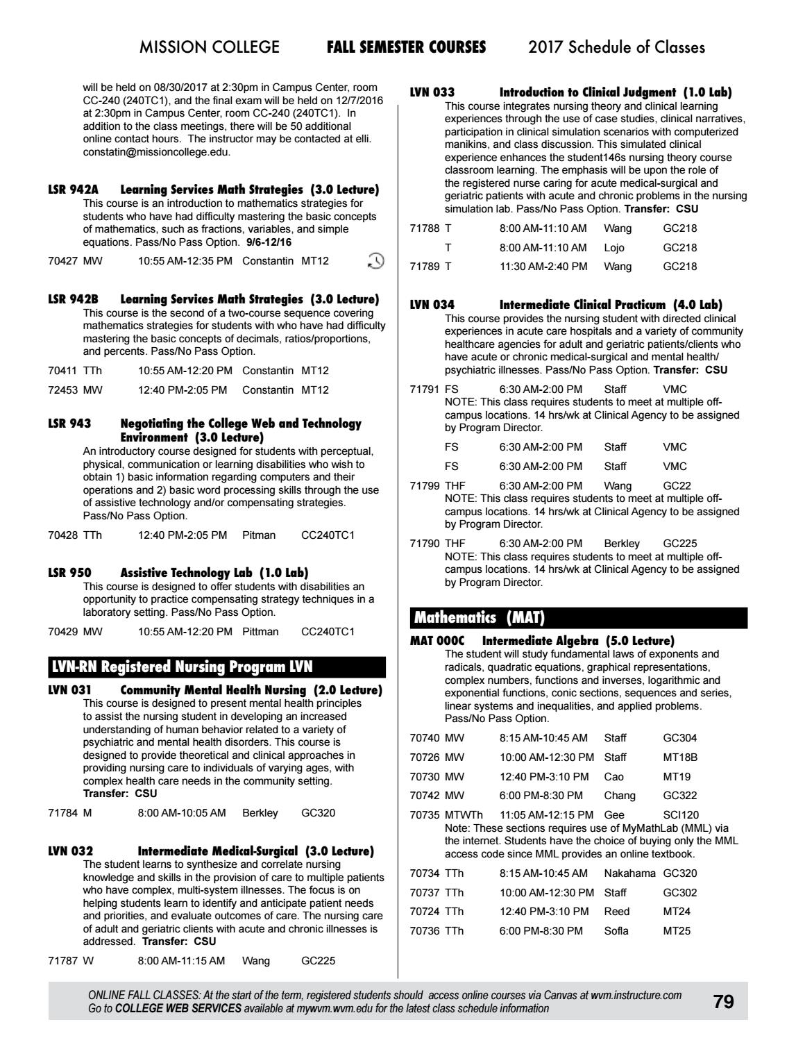 2017 Mission College Summer/Fall Schedule by Mission College - issuu