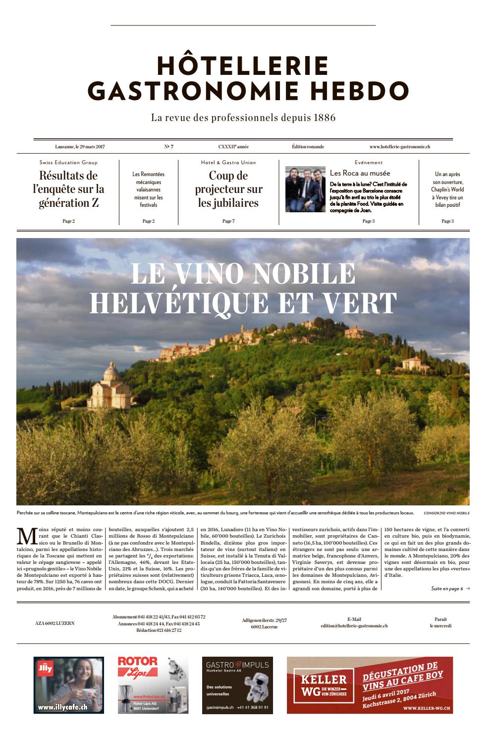 HG Hebdo 7 2017 By Hotellerie Gastronomie Verlag