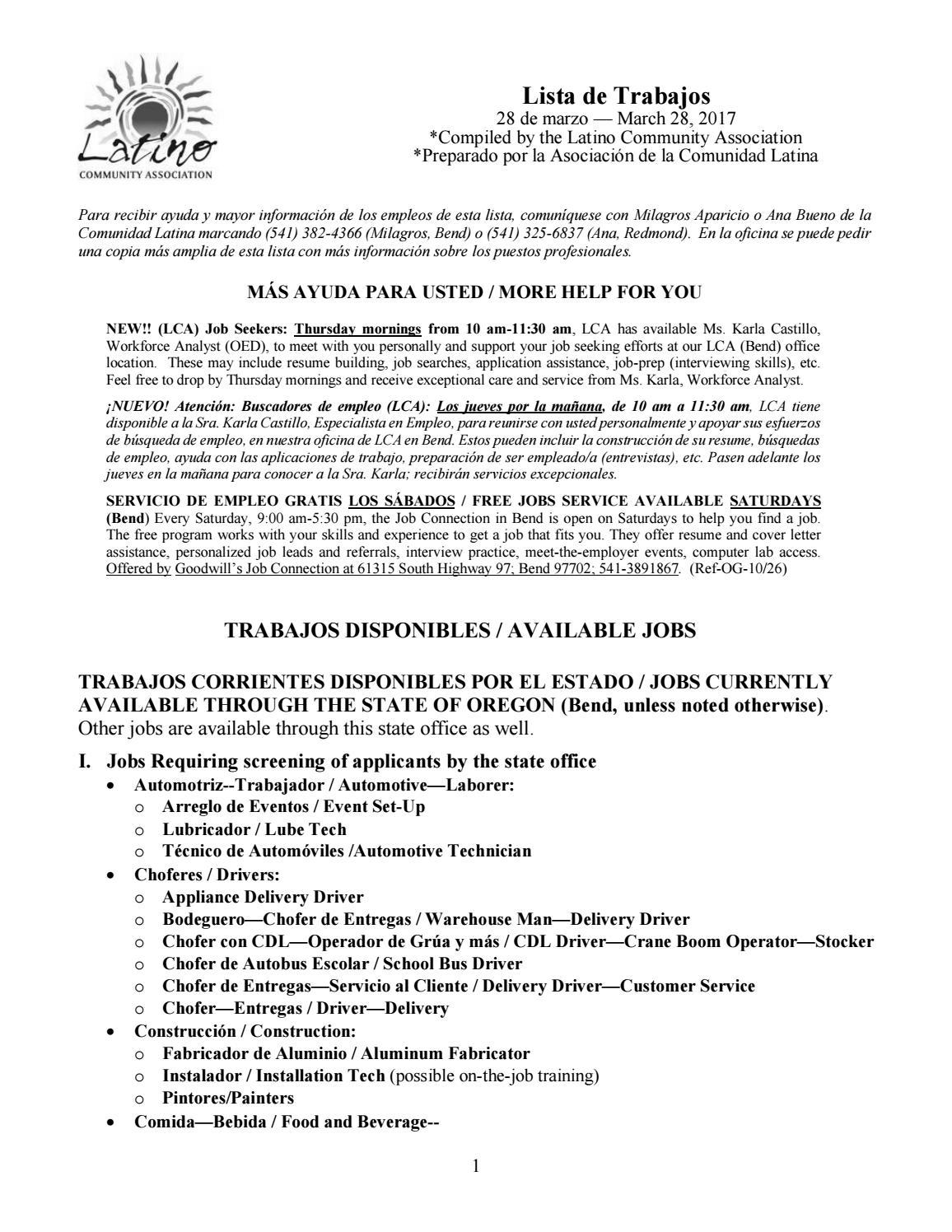 Lista De Trabajos 3 28 17 By Latino Community Association Issuu