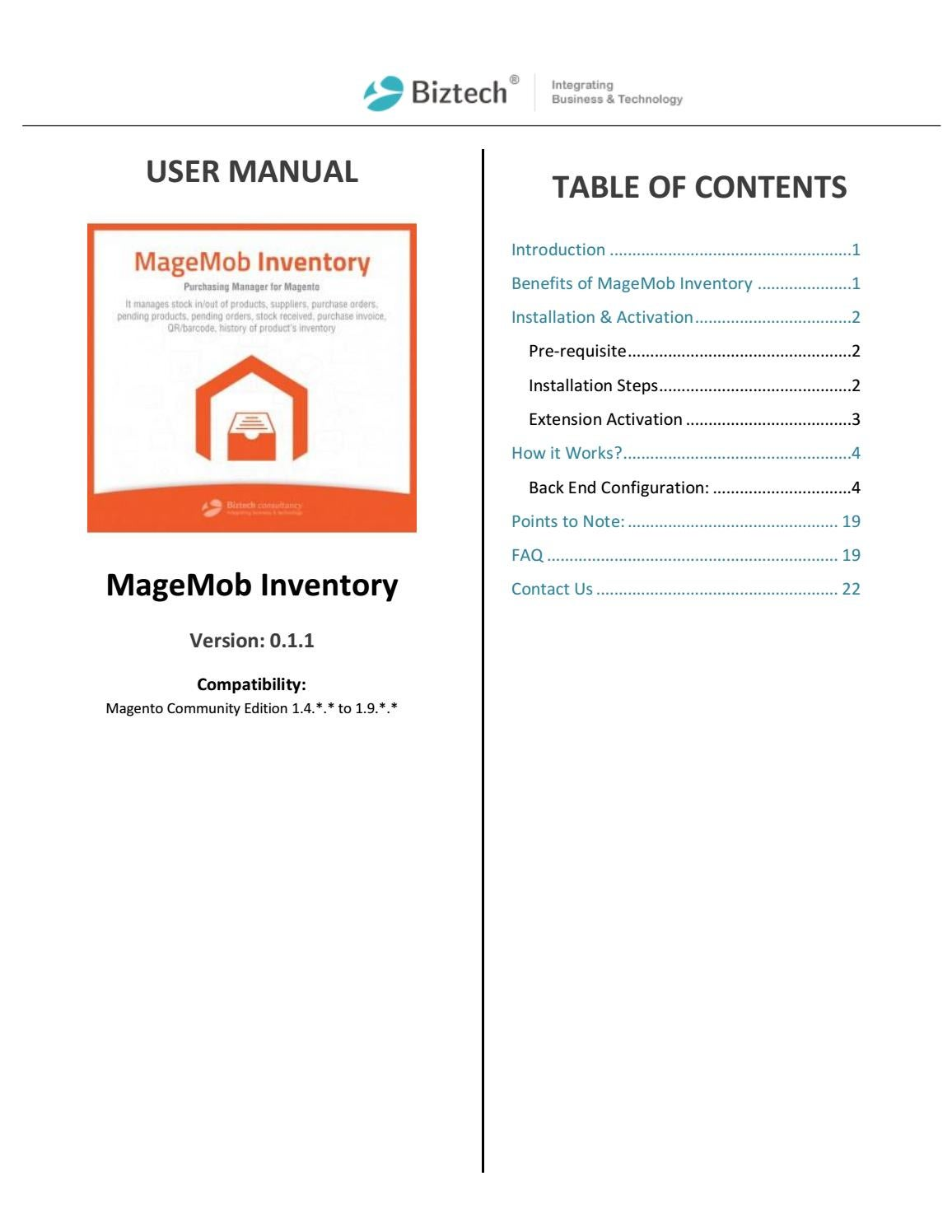 Complete Inventory Management Solution for Magento by Biztech Store