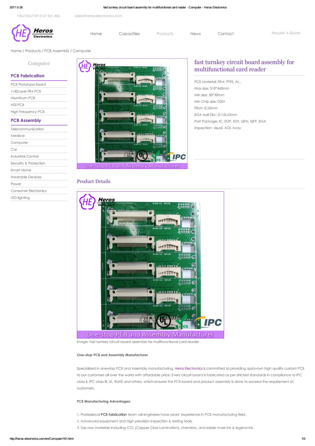 Fast Turnkey Circuit Board Assembly For Multifunctional Card Reader High Quality Computer Hdi Pcb Made In China Sale Heros Electronics By Shenzhen Co Ltd Issuu