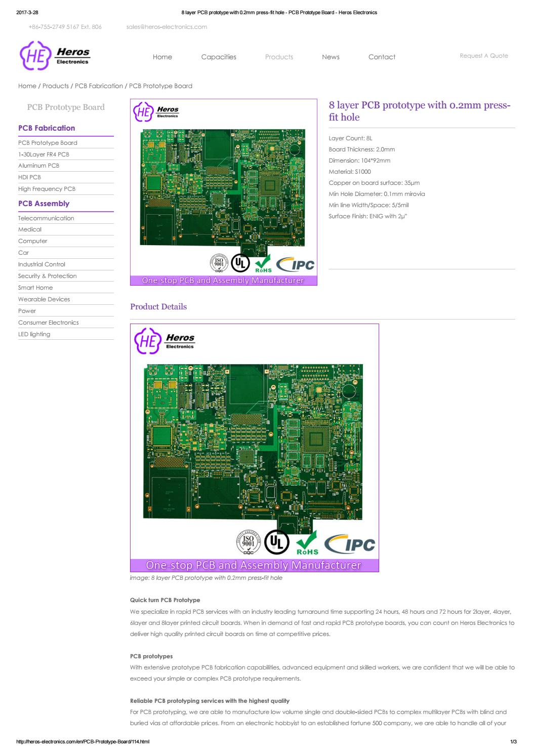 8 Layer Pcb Prototype With 0 By Heros Electronics Shenzhen Co Printed Circuit Board Manufacturer Buried Blind Via For Sale Ltd Issuu