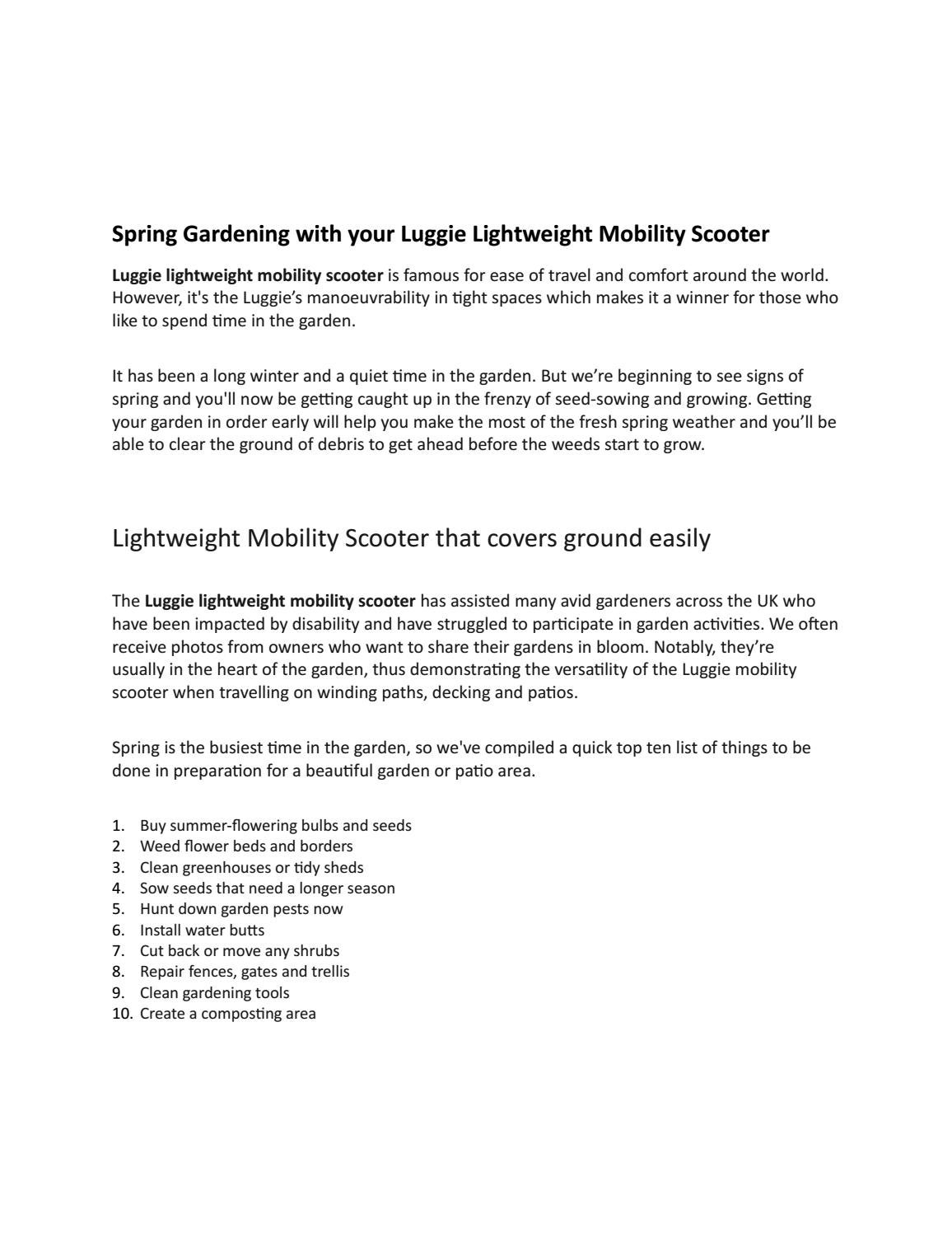 spring gardening with your luggie lightweight mobility scooter by