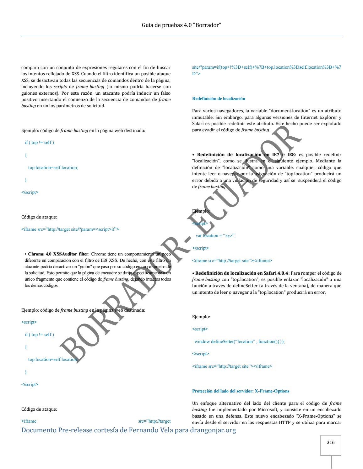 Guia de pruebas OWASP 4 0 Español