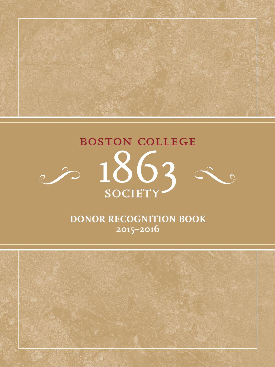 1863 Society Donor Recognition Book by Boston College - issuu