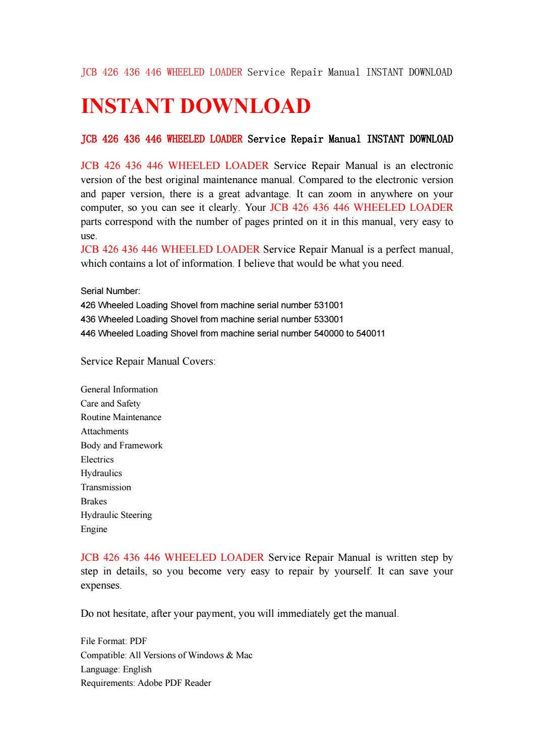 Jcb 426 436 446 wheeled loader service repair manual instant download by  kmfjnsuef7y - issuu