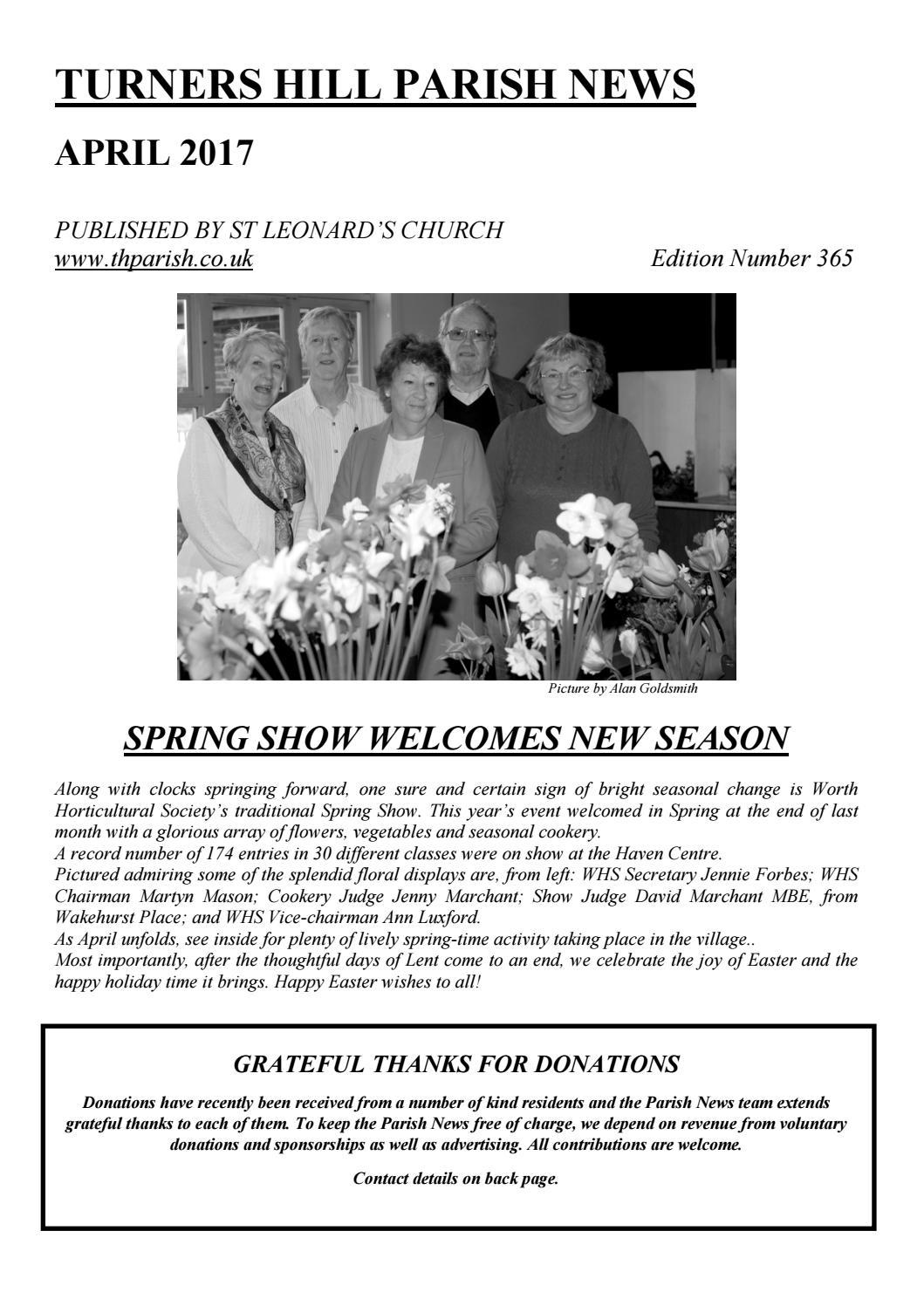 Parish News April 2017 By St Leonards Turners Hill