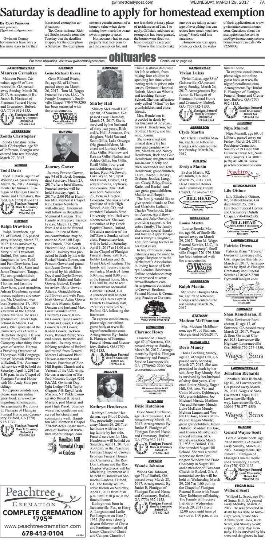 March 29, 2017 — Gwinnett Daily Post by Gwinnett Daily Post