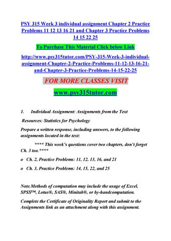 Psy 315 week 3 individual assignment chapter 2 practice