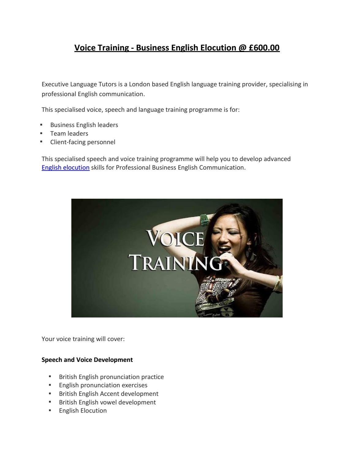 Voice training business english elocution @ £600 00 by Vicky Carney