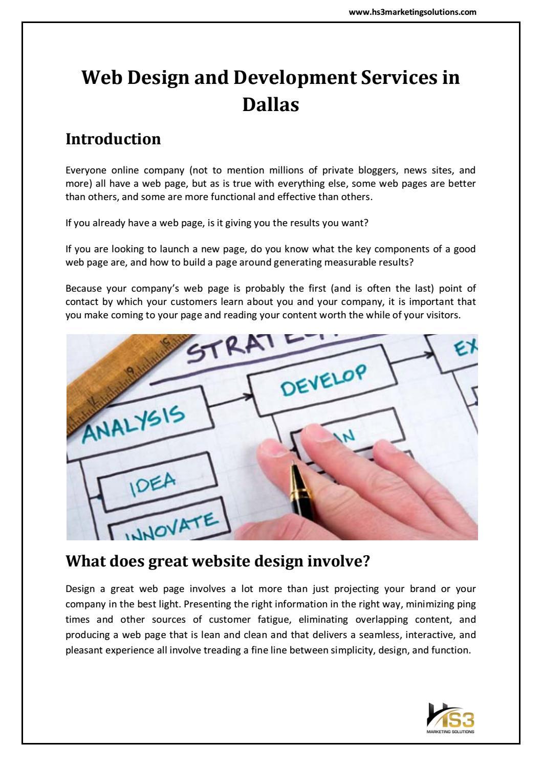 Web Design And Development Services In Dallas Hs3 Marketing Solutions By Hs3 Marketing Solutions Issuu