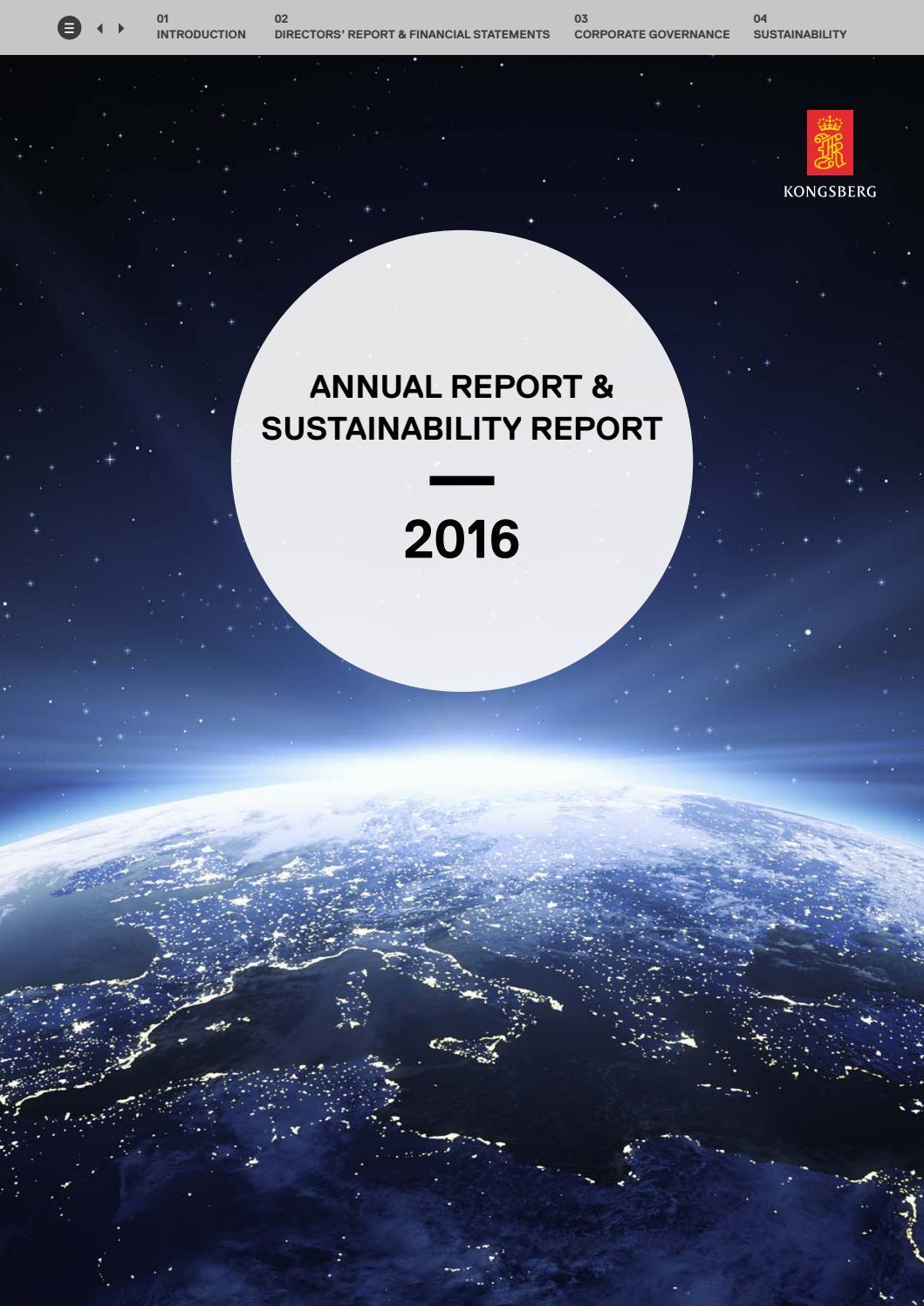 KONGSBERG ANNUAL REPORT & SUSTAINABILITY REPORT 2016 by Kongsberg Gruppen -  issuu