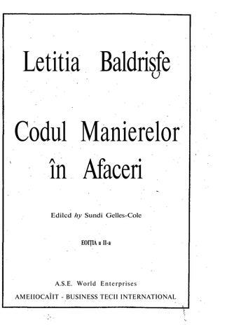 Codul Manierelor In Afaceri Ed A Ii A By Andryi Issuu