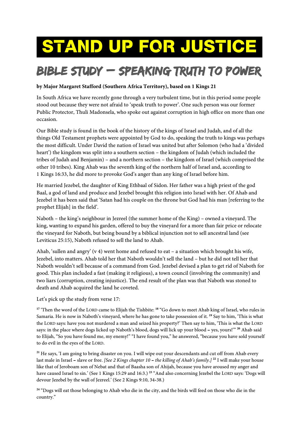 Stand up for justice bible study by Salvation Army IHQ - issuu