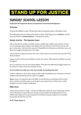 Stand up for justice sunday school lesson edit by Salvation Army IHQ