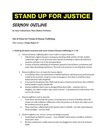 Stand up for justice sermon outline by Salvation Army IHQ