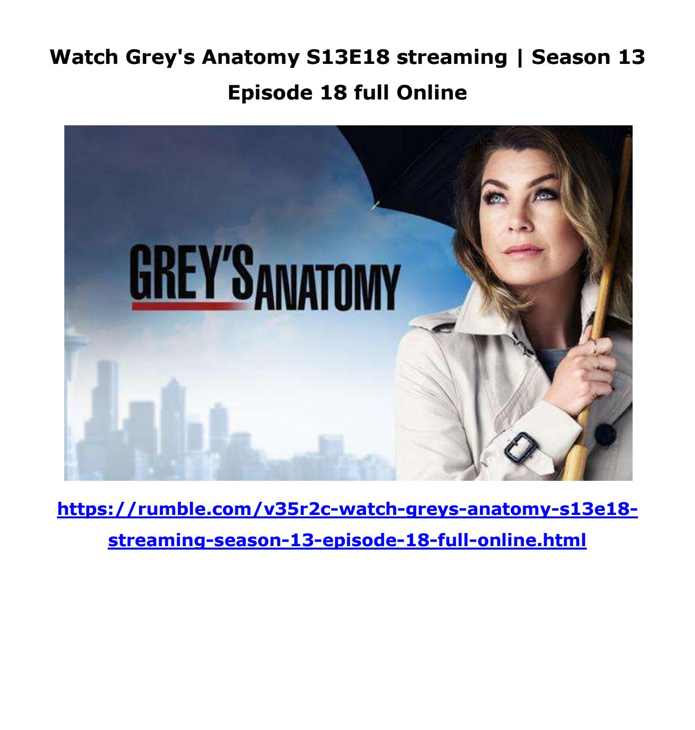 Watch Greys Anatomy S13e18 Streaming Season 13 Episode 18 Full