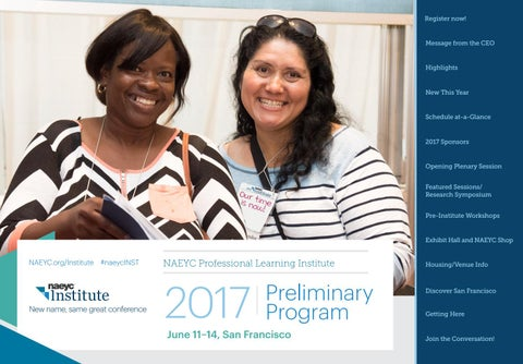 2017 naeyc professional learning institute preliminary program by page 1 malvernweather Gallery