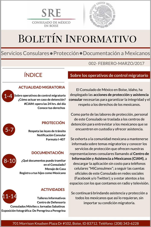 Boletín 002 feb-marzo. Consulmex Boise by Consulado de México en ...