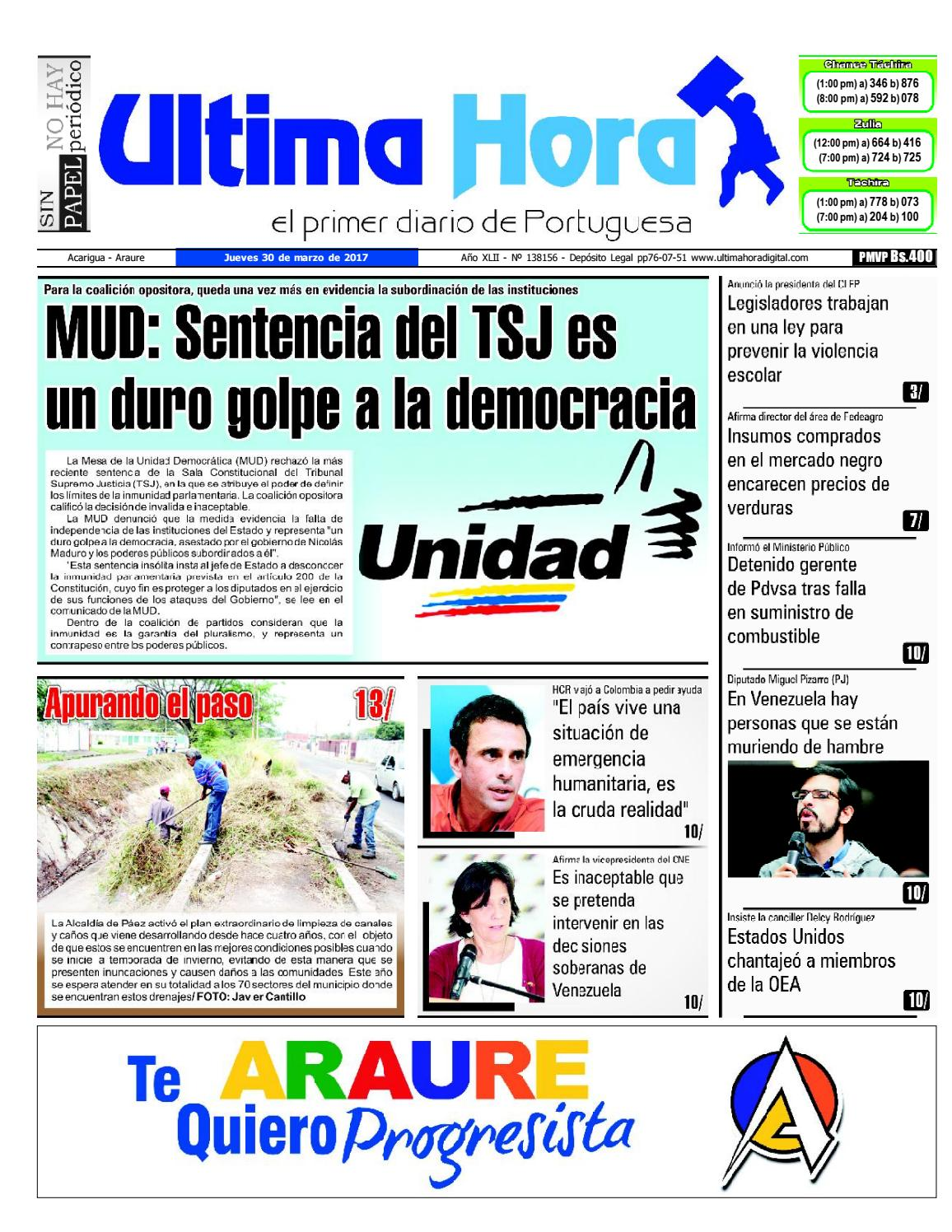 Edición 30 03 2017 by Ultima Hora - El primer diario de Portuguesa ...