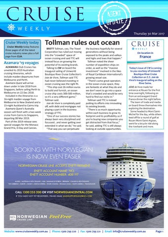 CW for Thu 30 Mar 2017 - Tollman rules out ocean cruising, Azamara