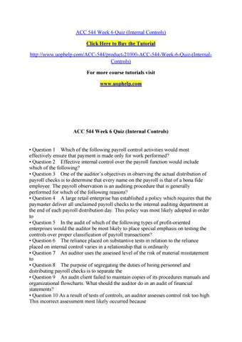 Acc 544 week 6 quiz (internal controls) by dcfr - issuu