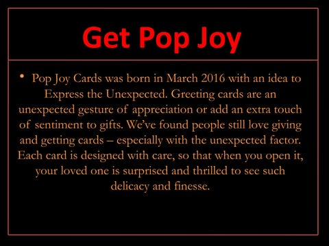Wedding pop up card canada by joseph dodson issuu get pop joy pop joy cards was born in march 2016 with an idea to express the unexpected greeting cards are an unexpected gesture of appreciation or add m4hsunfo