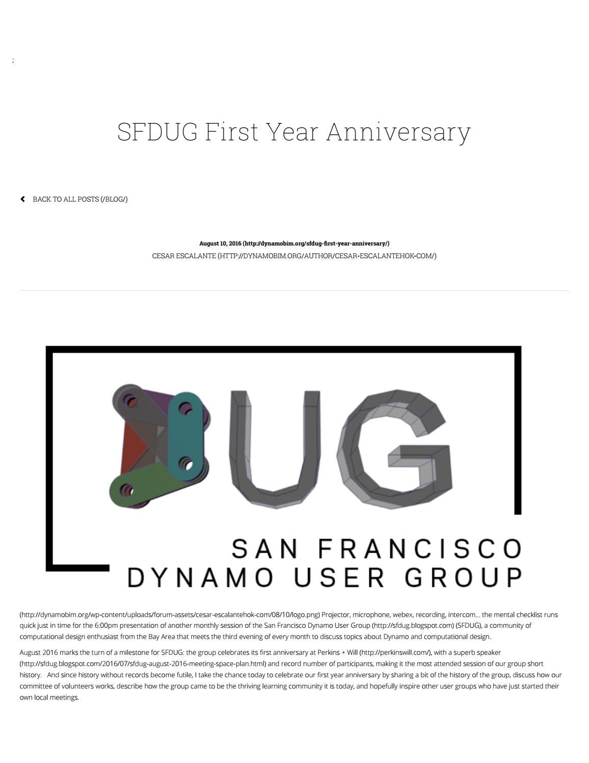 Sfdug first year anniversary dynamo bim by So Young Lee - issuu