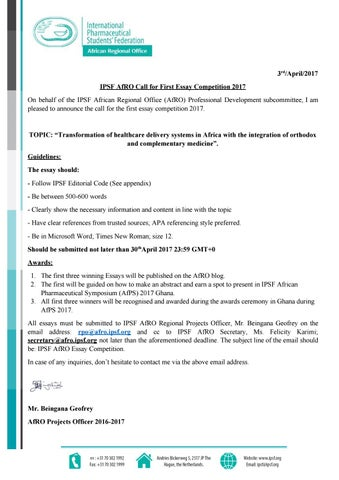 ipsf essay competition