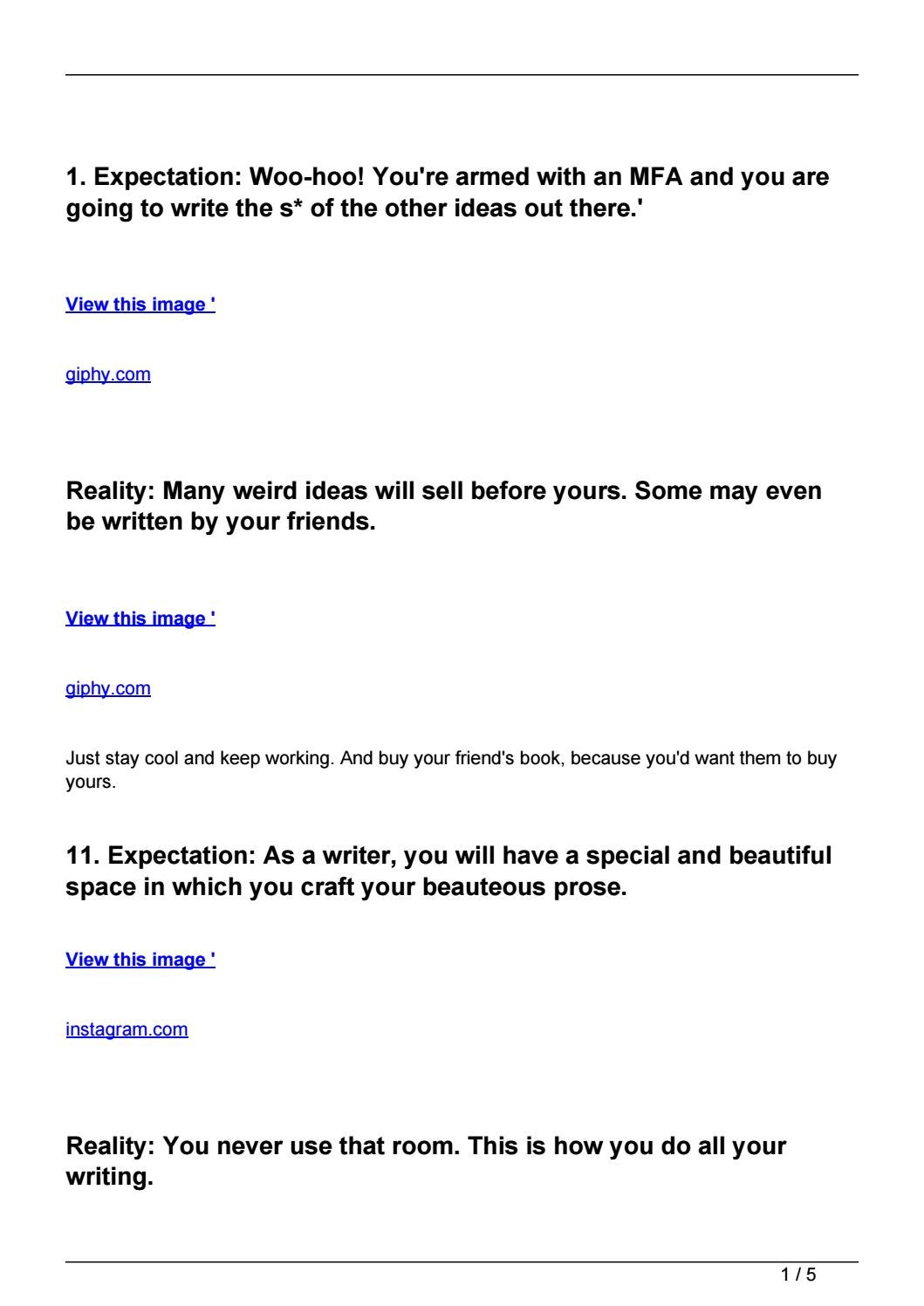 Being A Writer Expectations Vs. Reality by craftsguide , issuu
