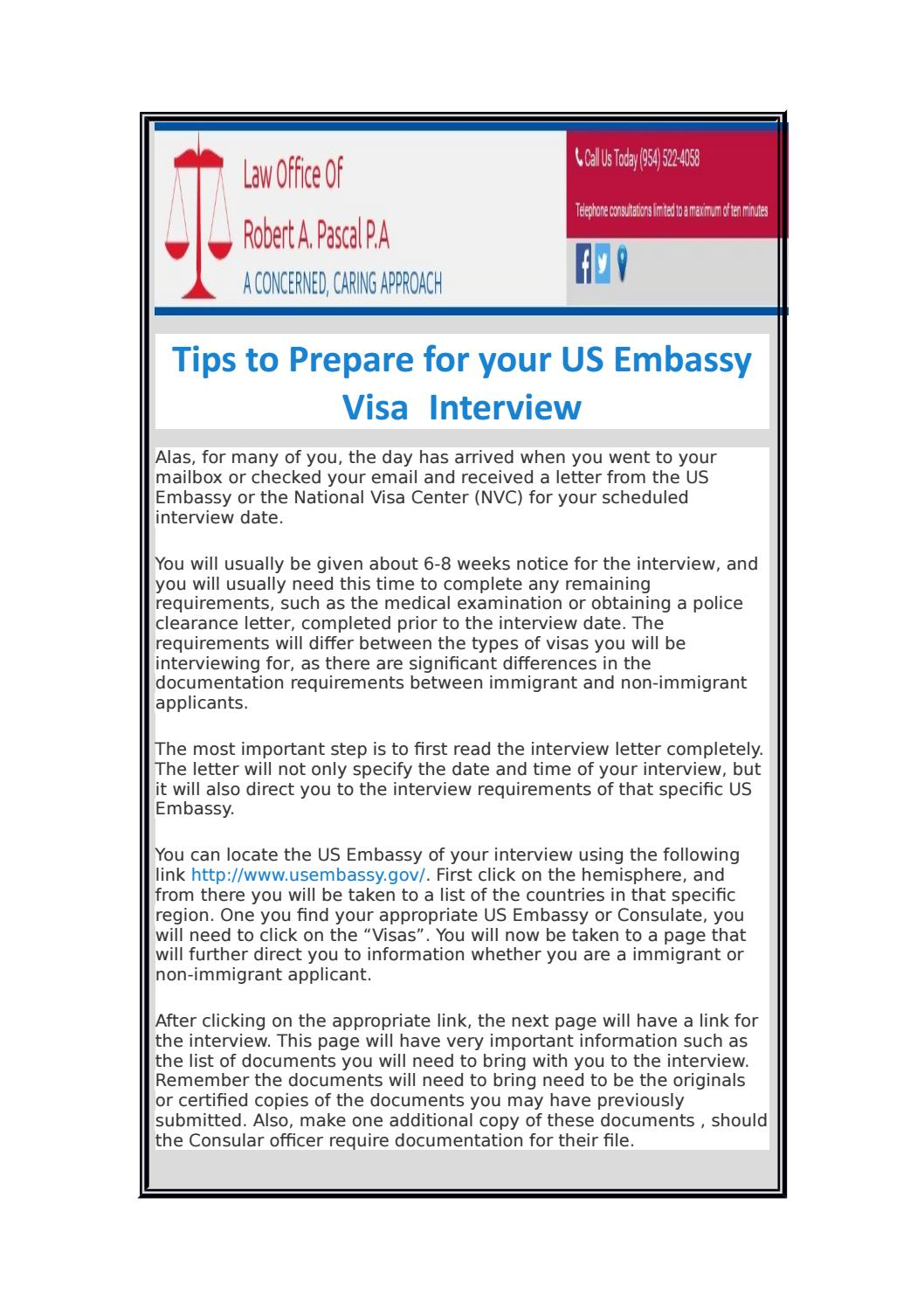 Attorney robert pascal tips to prepare for your us embassy