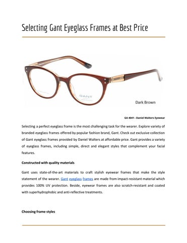 Selecting gant eyeglass frames at best price by Daniel Walters ...