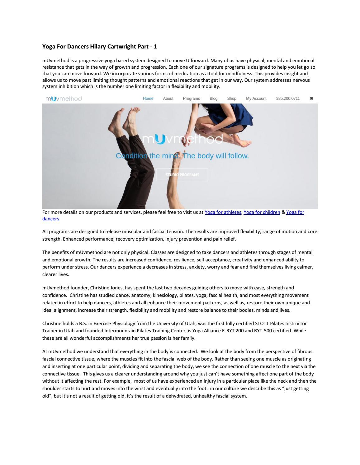 Yoga for dancers hilary cartwright part 1 by mUvmethod - issuu