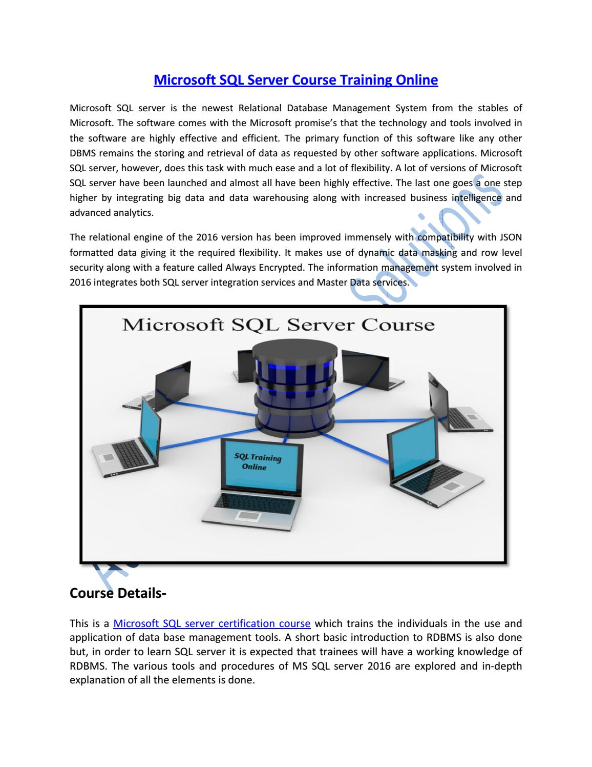 Learn Microsoft Sql Server Certification Course Online By Aurelius